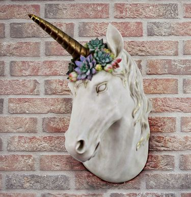 Unicorn w/Succulent Horn Wall Art - Click to enlarge