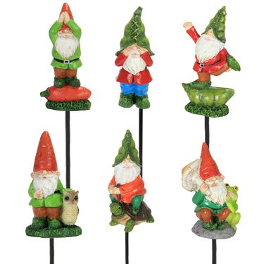 Veg-Head Gnome Pot Stakes (Set of 6) - Click to enlarge