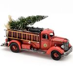 Vintage Fire Truck w/Christmas Tree & LED Lights