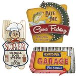 """Vintage Metal Signs""Light up Wall Signs (Set of 6)"