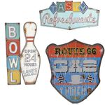 """Vintage Nifty Fifties"" Light up Wall Signs (Set of 6)"