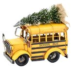 Vintage Yellow School Bus w/Christmas Tree & LED Lights