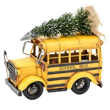 Vintage Yellow School Bus w/Christmas Tree & LED Lights - Click to enlarge