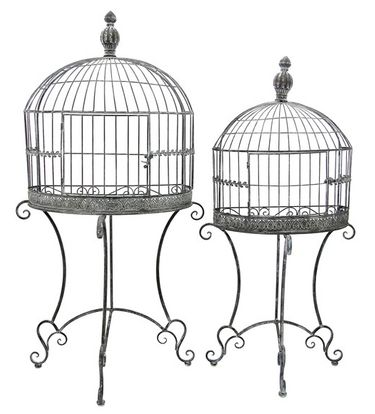 Wall Half Cage Plant Stands (Set of 2) - Antique Gray - Click to enlarge