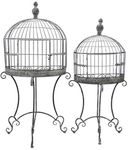 Wall Half Cage Plant Stands (Set of 2) - Antique Gray