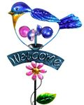 Welcome Blue Bird Spinner Garden Stake