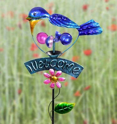 Welcome Blue Bird Spinner Garden Stake - Click to enlarge