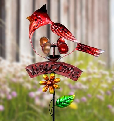 Welcome Cardinal Spinner Garden Stake - Click to enlarge