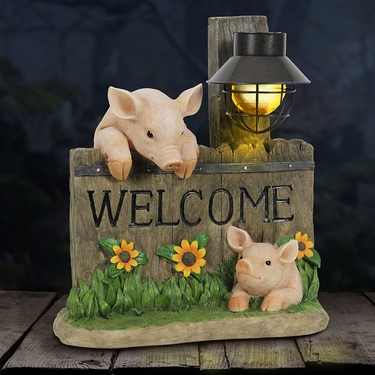 Welcome Pigs w/Solar Lantern - Click to enlarge
