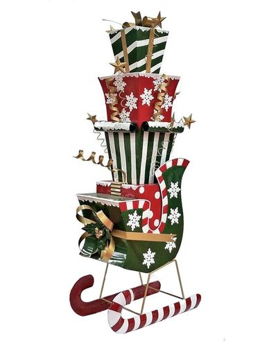 Whimsical Iron Christmas Sleigh w/Presents - Click to enlarge