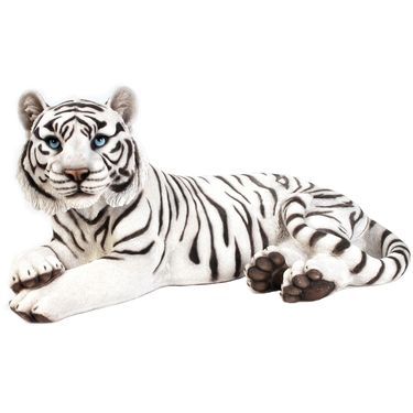 White Tiger Laying Down Statue