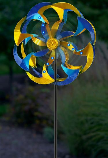 Wind-Powered LED Light Spinner: Blue & Yellow - Click to enlarge
