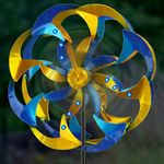 Wind-Powered LED Light Spinner: Blue & Yellow