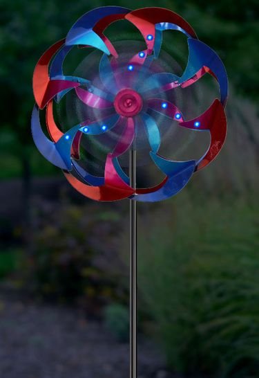 Wind-Powered LED Light Spinner: Pink & Blue - Click to enlarge