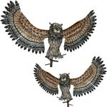 Winged Metal Owls with Perch Mounts (Set of 2)
