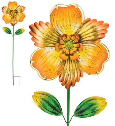 Yellow Isabel Glass Flower Garden Stake - Click to enlarge