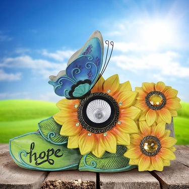 Yellow Solar Flower Statue w/Butterfly - Click to enlarge