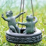 Youthful Tire Swing Frogs Garden Sculpture