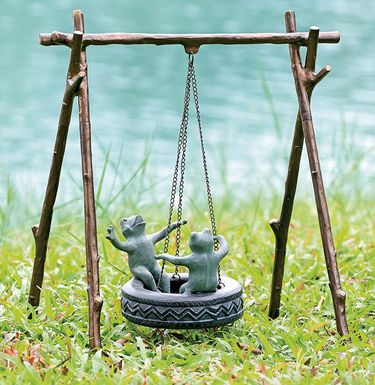 Youthful Tire Swing Frogs Garden Sculpture - Click to enlarge