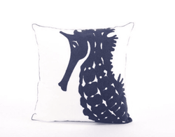 18x18 Embroidered Seahorse Pillow
