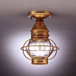 "8"" Round Onion Flush Mount Light Fixture With Cage"
