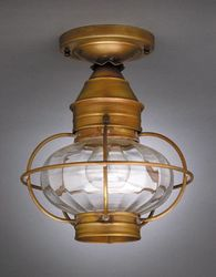 "9"" Onion Flush Mount Light Fixture with Caged Optic Globe <font color=a8bb25> Sold Out</font>"