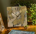 """8"""" Marble Nautical Map Clock - Choose Your Location"""