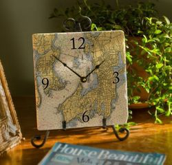 "8"" Marble Nautical Map Clock - Choose Your Location"
