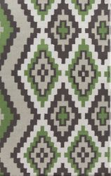 Alameda Moss Green/Black/Ivory Flat Pile Rug *Low Stock