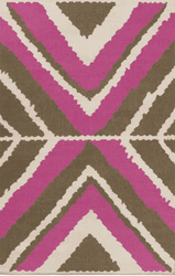 Alameda Magenta/Brown Flat Pile Rug *Low Stock