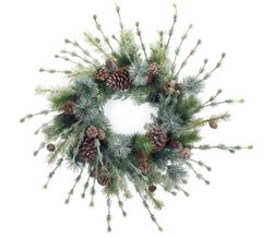 Alpine Holiday Iced Pine Wreath with Cones