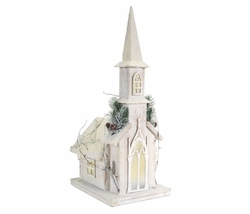 """Alpine Holiday Pre-Lit Wooden Church 20"""" *Low Stock"""