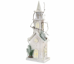 """Alpine Holiday Pre-Lit Wooden Church 22"""" *Low Stock"""