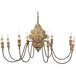 Antique Wood Carved Chandelier *Low Stock