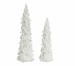 Arctic Glow Holly and Cone Tree Set of 2