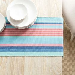 Aruba Stripe Table Runner With Napkin Option