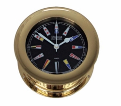 Atlantis Quartz Clock Brass with Black Dial w/ Color Flags * NEW