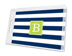 Awning Stripe Navy Lucite Tray in Three Sizes