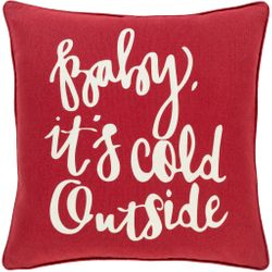 Baby It's Cold Outside Pillow in Red and White *NEW