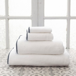 Banded White/Shale Bath Towels