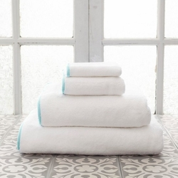 Banded White/Sky Blue Bath Towels