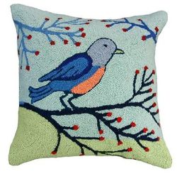 Birds & Berries Christmas Pillow  <font color=a8bb35> NEW</font>