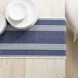 Bistro Stripe Indigo Table Runner With Napkin Option