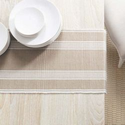 Bistro Stripe Platinum Table Runner With Napkin Option