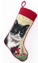 Black and White Cat Christmas Stocking<font color =a8bb35> Sold out</font>