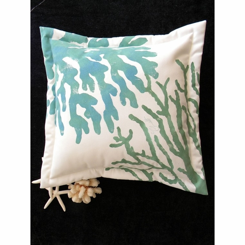 Blue and Green Coral Indoor/Outdoor Pillow