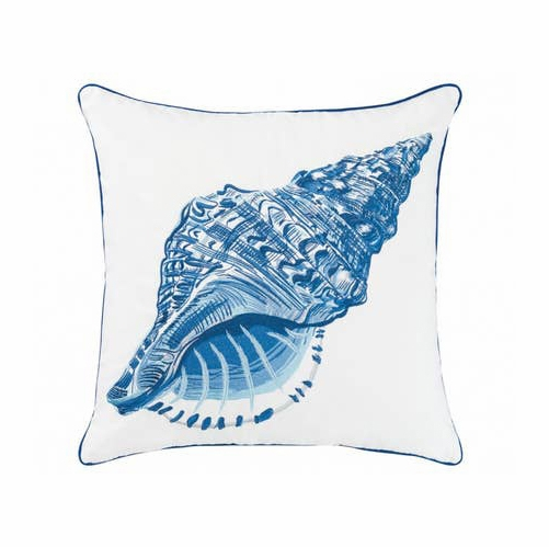 Blue Conch Shell Outdoor Pillow