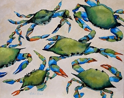 Blue Crabs On Beach Giclee