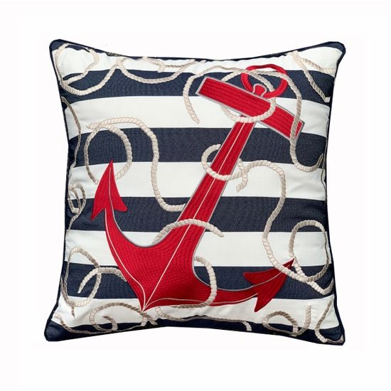Blue Stripe And Red Anchor Indoor, Outdoor Anchor Pillow