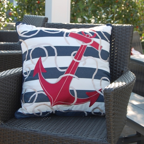 Blue Stripe and Red Anchor Indoor/Outdoor Pillow
